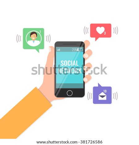 Social network concept. Hand holding mobile phone with notifications: like, message, new friend. Flat style vector illustration.  - stock vector
