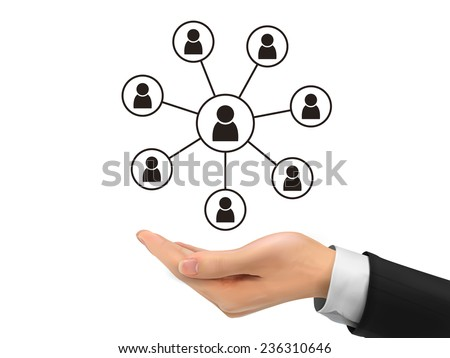 social network concept holding by realistic hand over white background - stock vector