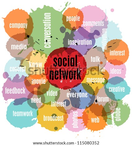 social network concept, vector illustration, with splashes - stock vector