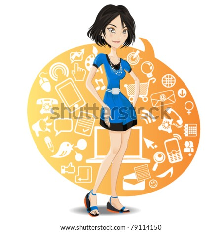Social Network Girl - stock vector
