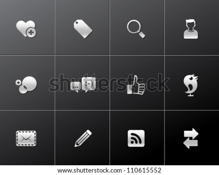 Social network icon series in metallic style - stock vector
