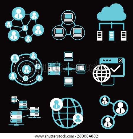 social network icons, network and communication icons. - stock vector