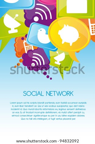 Social network icons on colors, Vector Illustration - stock vector