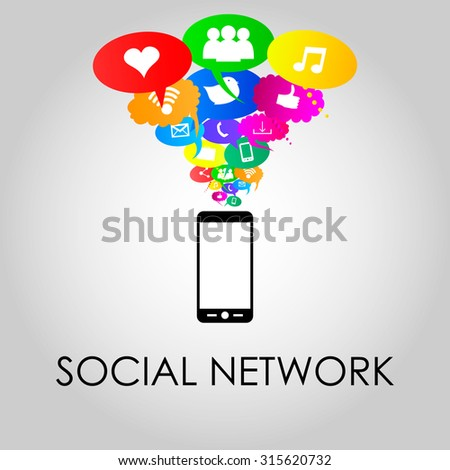 Social network icons on different colors thought bubbles with mobile phone. Vector