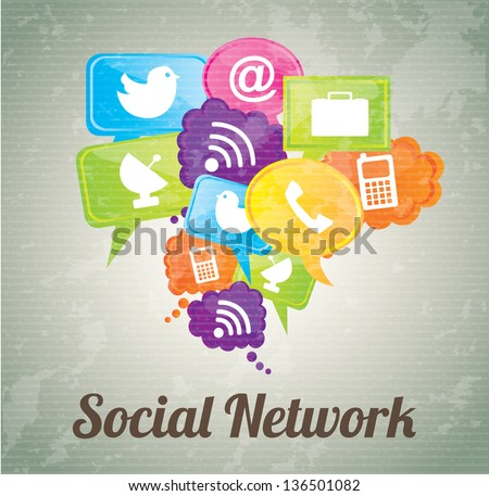 Social network icons over vintage background vector illustration - stock vector