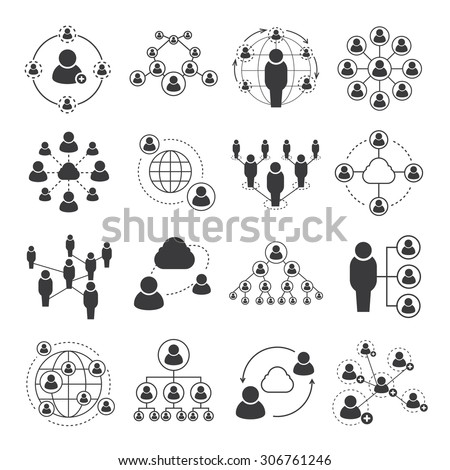 social network icons, people network icons - stock vector