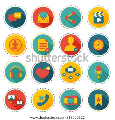 Social network icons round buttons set with communication elements isolated vector illustration - stock vector