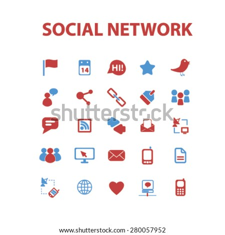 social network icons set, vector - stock vector