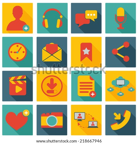 Social network icons set with web elements isolated vector illustration - stock vector