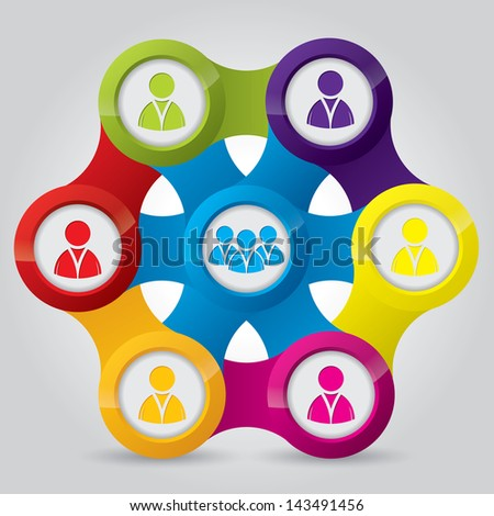 Social network illustrating connections of individuals and teams - stock vector