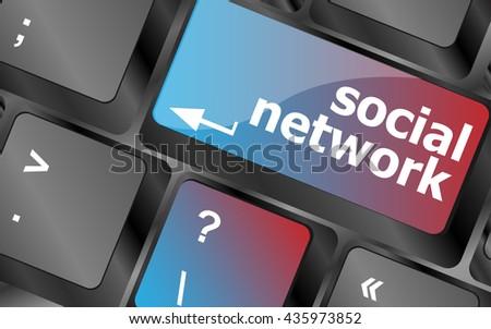 Social network keyboard key button . keyboard keys. vector illustration - stock vector