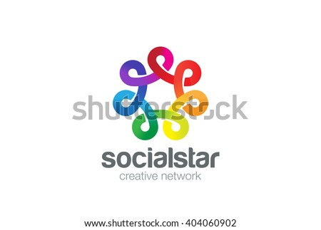 Social network Logo colorful design vector template.