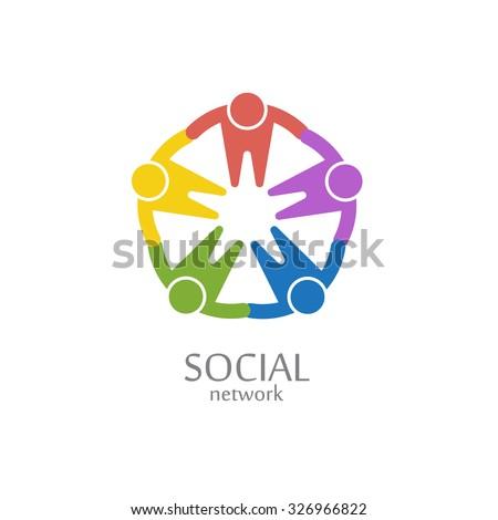 Social network logo design vector template. Team circle icon. - stock vector