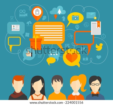 Social network media icons concept with people avatars and speech bubbles vector illustration. - stock vector