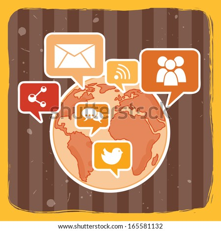 social network over yellow background vector illustration