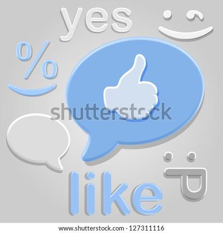 Social network plastic emotion symbols over gray background - stock vector