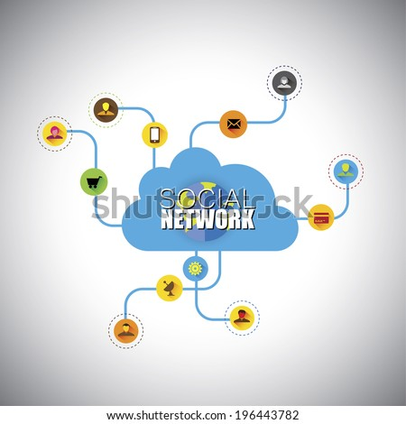 social network, social media, cloud computing - concept vector icons. This graphic illustration can also represent people interaction over internet, online shopping, mobile technology interface - stock vector