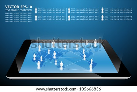 social network structure on touch-screen tablet-pc. Vector illustration - stock vector
