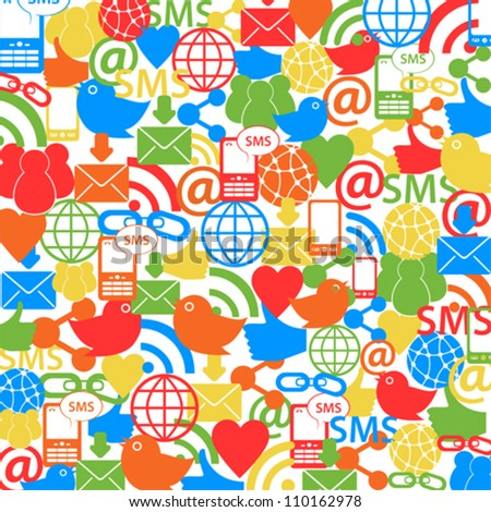 Social Network Symbols Background Stock Vector Royalty Free