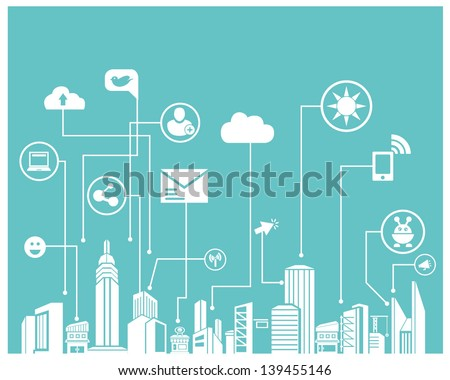social network system and communication system info graphic, background - stock vector