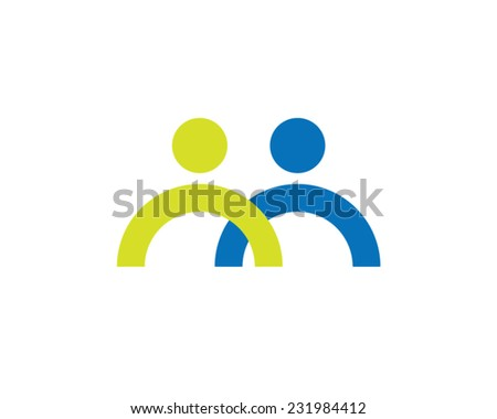 social network team partners couple friends together union friendship partnership business teamwork cooperation vector icon - stock vector