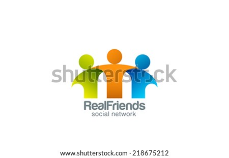Social Network Team Partners Friends logo design vector template. Together union symbol of friendship, partnership logotype. Business Teamwork cooperation icon. - stock vector
