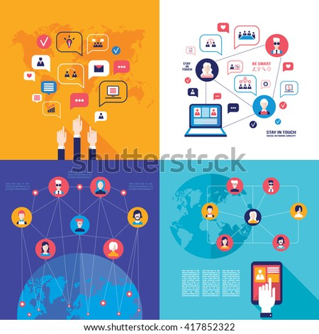 Social Network Technology Banner set Global Communication on web concept - stock vector