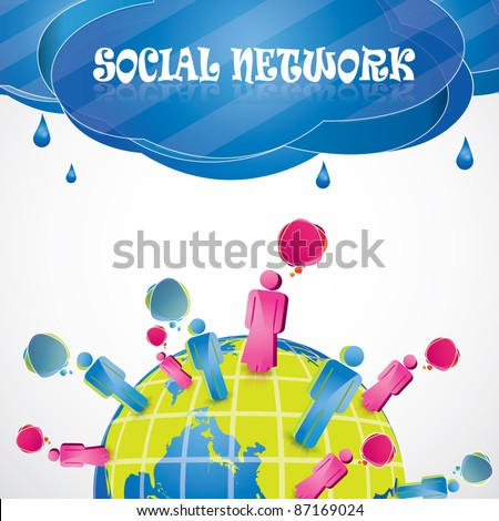 Social network vector background composition with people standing on the planet - stock vector