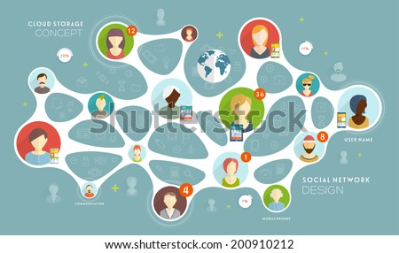 Social Network Vector Concept. Flat Style Illustration for Web Sites Infographic Design. - stock vector