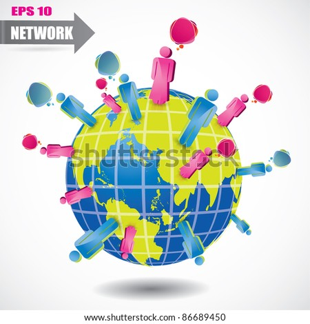 Social network vector symbol with globe and people - stock vector