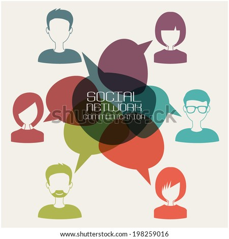 social network with group of people - stock vector