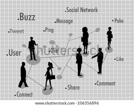 Social networking background with peoples connected with social network . EPS 10. Social networking and social media concept. - stock vector