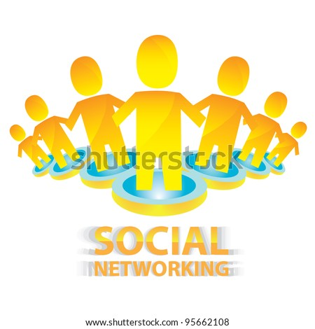 social networking color abstract logo. vector illustration of social media. - stock vector