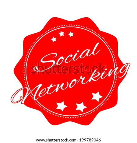 social networking label stamp with on vector illustration