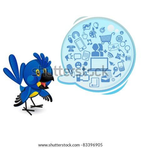 Social Networking Media Blue Macaw Bird With A Speech Bubble - stock vector
