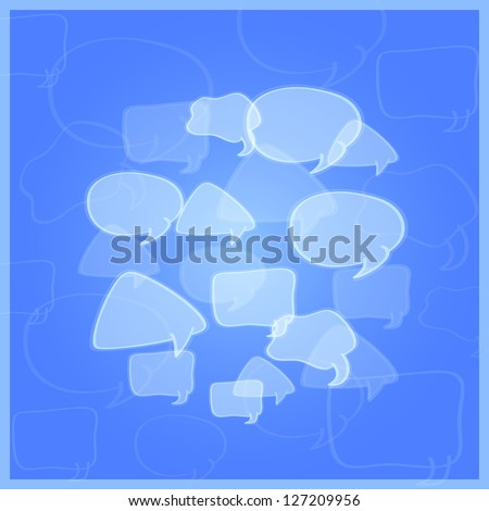 Social Networking Media Chat Icons. Communication Concept. Group of Transparent Speech Bubbles Message - stock vector