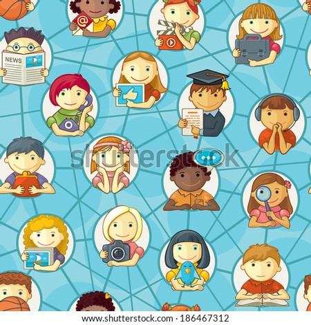 Social Networking Seamless Pattern - stock vector