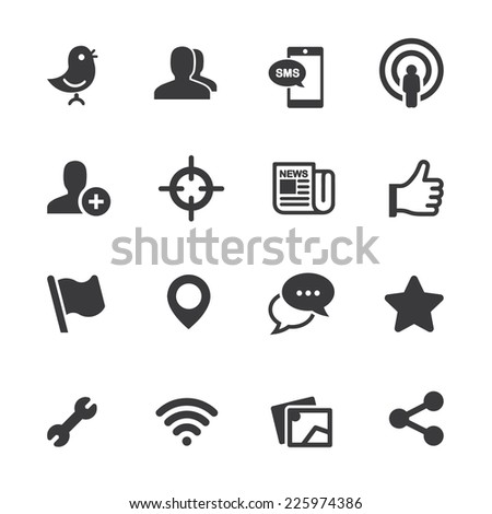 Social Networking Silhouette icons - stock vector