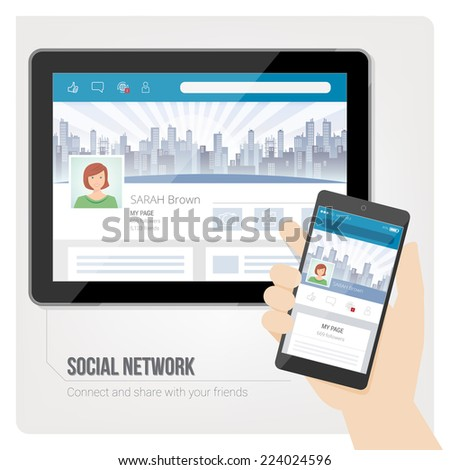 Social networks and user profiles on tablet and smartphone - stock vector