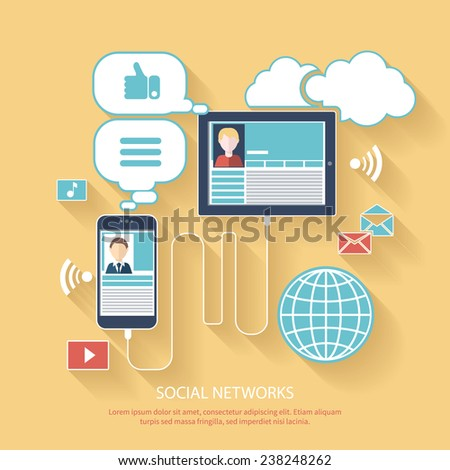 Social networks. Cloud of application icons. Set for web and mobile applications of social media - stock vector