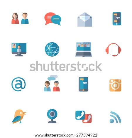 Social networks with computer laptop and smartphone icons set flat isolated vector illustration  - stock vector