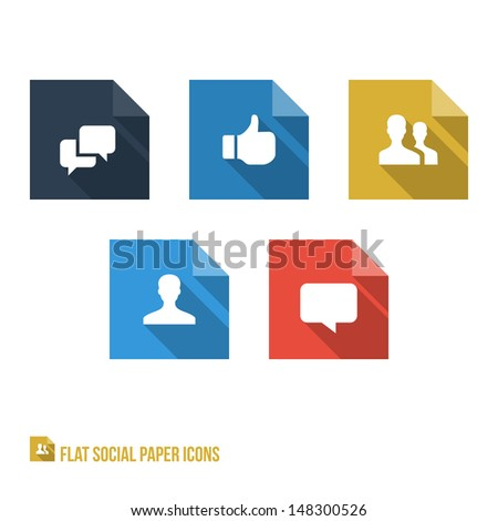 Social Paper Icons - Flat Design - Vector Illustration - Infographic Element - stock vector