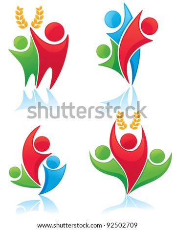 social reality: leaders, voters and electorate - vector collection of symbols and icons - stock vector