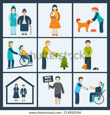 Social services and volunteer icons set isolated vector illustration - stock vector