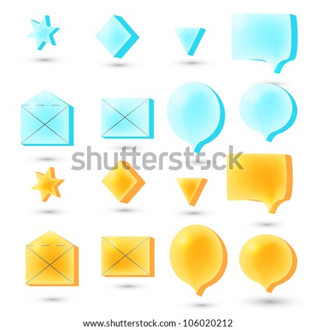 Social speech bubbles in different colors and forms illustration set. - stock vector
