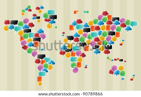 Social speech bubbles in different colors and forms in globe world map illustration. Vector file available. - stock vector