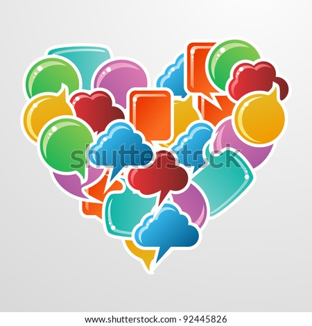 Social speech bubbles in different colors and forms in heart shape illustration. Vector file available. - stock vector