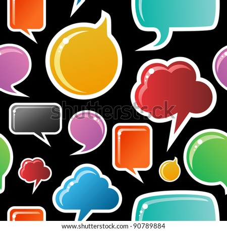 Social speech bubbles in different colors and forms seamless pattern illustration. Black background vector file available. - stock vector