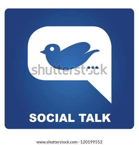 social talk, bird in speech bubble, vector - stock vector