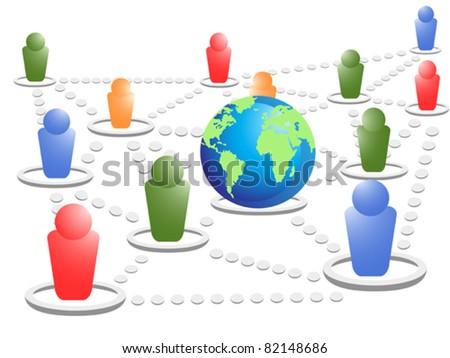 social world - stock vector